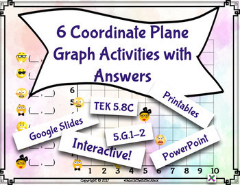 Digital Moveable Math Coordinate Plane Graph Google Slide 5.G.1-2 and TEK 5.8C