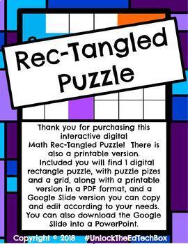 Digital Moveable Math Rectangle Puzzle Shape Activity Google Slide PowerPoint