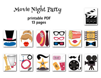Digital Movie Photo Booth Props Movie Night Photobooth Props 0160