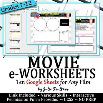 Movie eWorksheets Digital Graphic Organizers, Google Drive