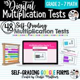 Digital Multiplication Test Forms for Google Classroom 0-1