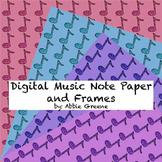 Digital Music Note Papers and Frames