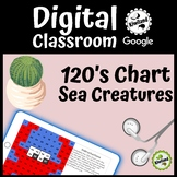 Digital Mystery Picture - Sea Creatures - 120's Chart - Google Classroom