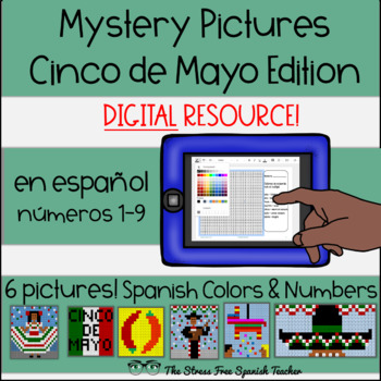 Digital Mystery Pictures Cinco de Mayo! Color By Number / Grid / Spanish