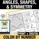 Digital Mystery Pictures Measuring Angles, Geometry, Symmetry 4th Grade Math