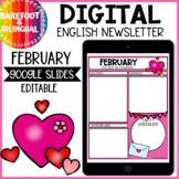 Digital Newsletter Template Editable | English February | Google Slides