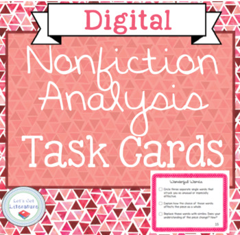 Digital Nonfiction Analysis Close Reading Task Cards