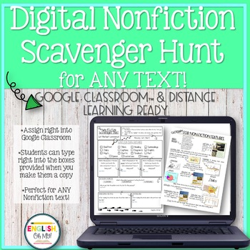 Digital Nonfiction Scavenger Hunt-Google Classroom & Distance Learning Ready