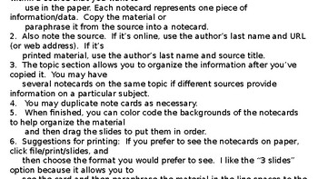 Digital Note Cards for Research Papers