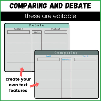 Digital Notebook Graphic Organizer Comparing Literature and Informational Text