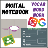 Digital Notebook Graphic Organizer Vocabulary Word Work Activities Any Set