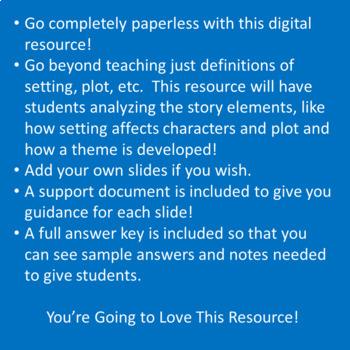 Digital Notebook ~ Story Elements for Middle School ELA