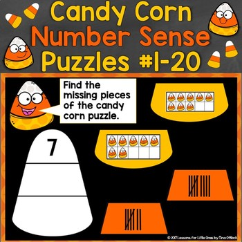 Digital Number Sense Candy Corn Puzzles Boom Cards (Numbers 1-20)