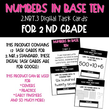 Digital Numbers and Base Ten Task Cards for 2.NBT.3