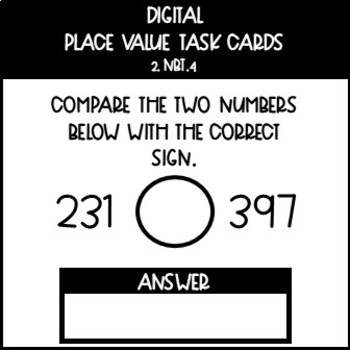 Digital Numbers and Base Ten Task Cards for 2.NBT.4
