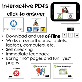 Interactive PDFs and Boom Cards ⋅ BUNDLE ⋅ Interactive Activities for Special Ed