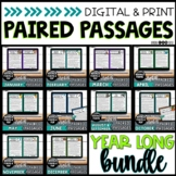 Digital Paired Passages YEAR BUNDLE | Reading Comprehension | Google & Print