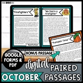 Digital Paired Reading Passages OCTOBER | Distance Learning | Google & Printable