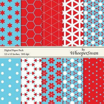 Digital Paper - Red Blue
