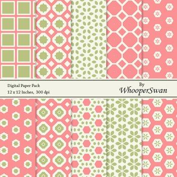Digital Paper - Green Red Vintage