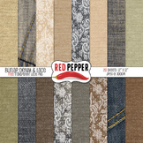 Digital Paper / Patterns - Burlap, Denim & Lace
