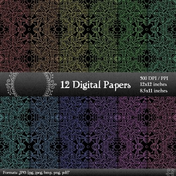 Digital Paper 12x12 + 8.5x11 Inch Album Page Jpg Card Instant Download Henna A4