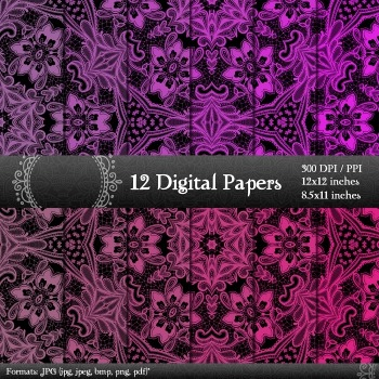 Digital Paper 12x12 + 8.5x11 Inch Card Making Scrapbook Book Page Jpg Art Fabric
