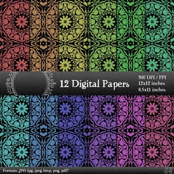 Digital Paper 12x12 + 8.5x11 Inch Journal Printable Graphics Scrapbook Collag A4