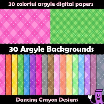 Digital Paper / Backgrounds with Argyle Pattern