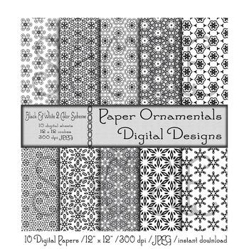 Digital Paper:  Black and White Design Set 2