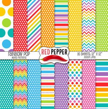 Digital Paper and Clipart - Rainbow Bundle