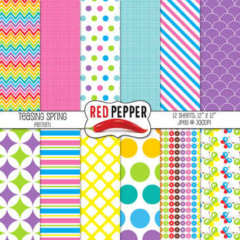 Digital Paper and Clipart - Rainbow Bundle
