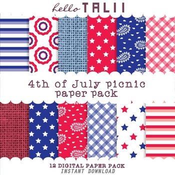 Digital Paper: 4th of July Picnic