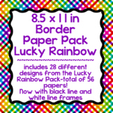 Digital Paper-8.5 x 11 Border Frame Paper Lucky Rainbow LARGE