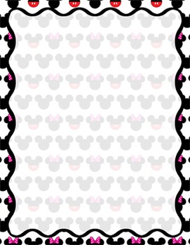 Digital Paper-8.5 x 11 Border Frame Paper Mickey