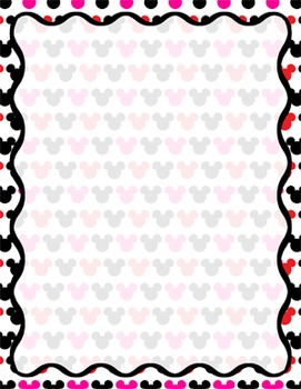 Digital Paper-8.5 x 11 Border Frame Paper Mickey