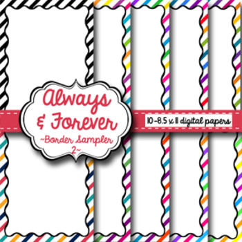 Digital Paper-8.5 x 11 Border Frame Paper SAMPLER 2