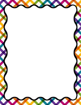 Digital Paper-8.5 x 11 Border Frame Paper Taste the Rainbow HUGE