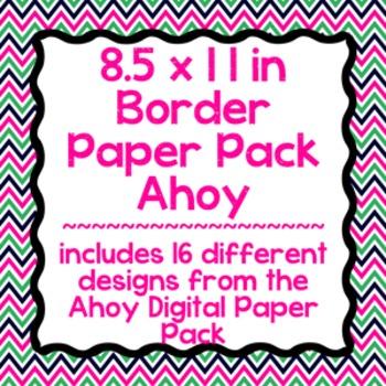 Digital Paper-8.5 x 11 Border Frame Paper Ahoy