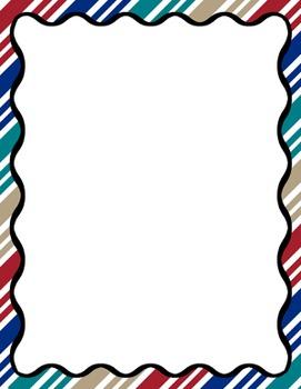 Digital Paper-8.5 x 11 Border Frame Paper America