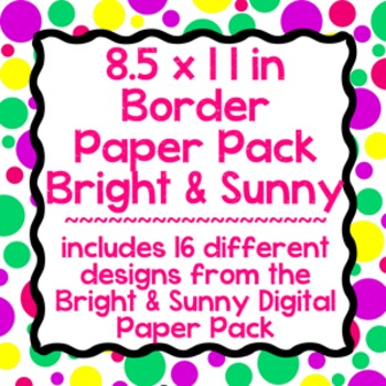 Digital Paper-8.5 x 11 Border Frame Paper Bright & Sunny