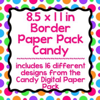 Digital Paper-8.5 x 11 Border Frame Paper Candy