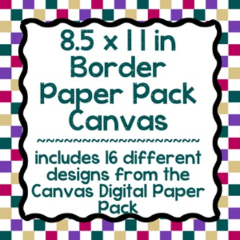 Digital Paper-8.5 x 11 Border Frame Paper Canvas