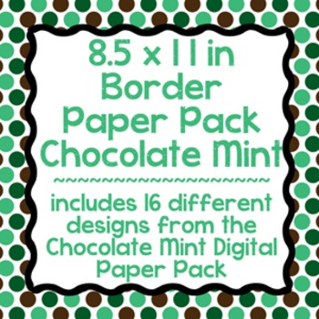 Digital Paper-8.5 x 11 Border Frame Paper Chocolate Mint