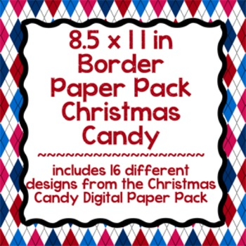 Digital Paper-8.5 x 11 Border Frame Paper Christmas Candy