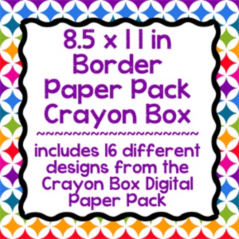 Digital Paper-8.5 x 11 Border Frame Paper Crayon Box