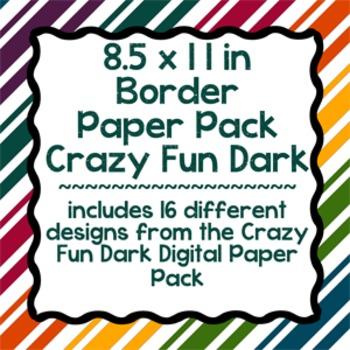 Digital Paper-8.5 x 11 Border Frame Paper Crazy Fun Dark
