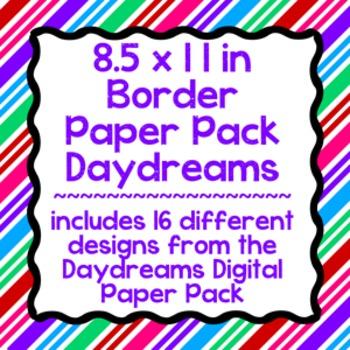 Digital Paper-8.5 x 11 Border Frame Paper Daydreams