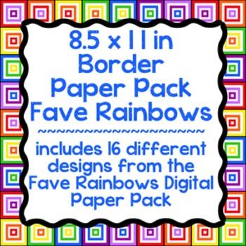 Digital Paper-8.5 x 11 Border Frame Paper Favorite Rainbows