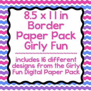 Digital Paper-8.5 x 11 Border Frame Paper Girly Fun
